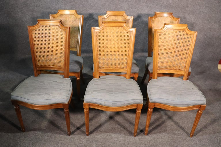 Mid-20th Century Set 8 French Louis XVI Style Cane Back Linen Upholstered Dining Chairs For Sale