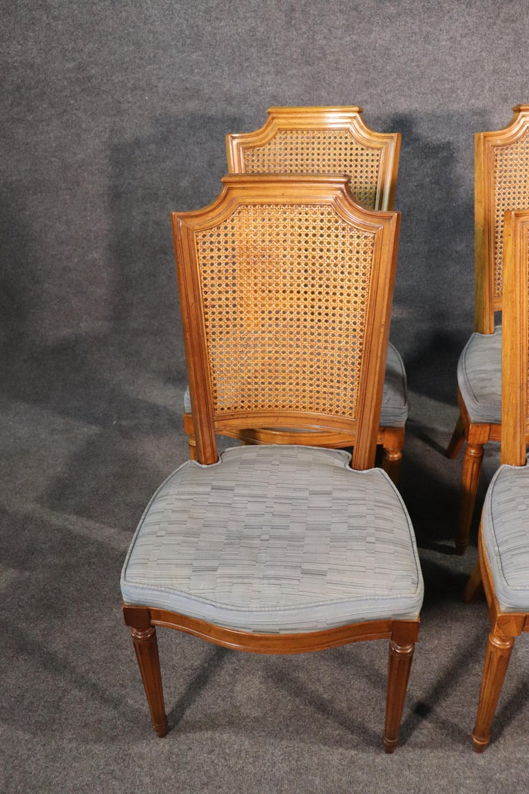 Set 8 French Louis XVI Style Cane Back Linen Upholstered Dining Chairs For Sale 1