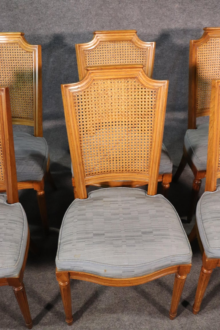 Set 8 French Louis XVI Style Cane Back Linen Upholstered Dining Chairs For Sale 2