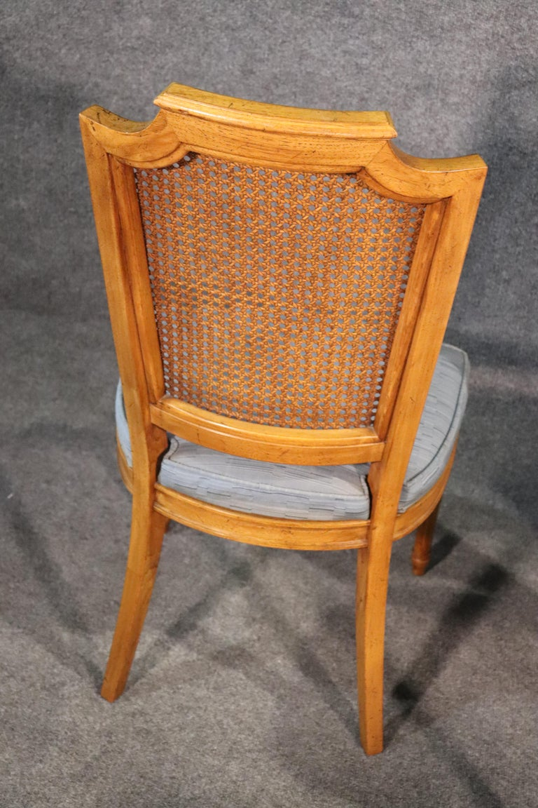 Set 8 French Louis XVI Style Cane Back Linen Upholstered Dining Chairs For Sale 3
