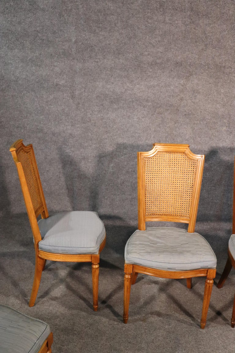 Set 8 French Louis XVI Style Cane Back Linen Upholstered Dining Chairs For Sale 4
