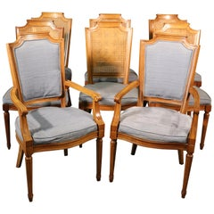 Set 8 French Louis XVI Style Cane Back Linen Upholstered Dining Chairs