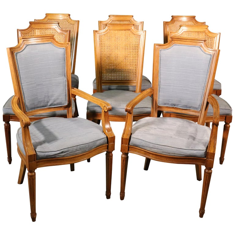Set 8 French Louis XVI Style Cane Back Linen Upholstered Dining Chairs For Sale