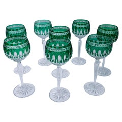 Set 8 Green Cased Goblets by Waterford, Vintage with Great Emerald Color