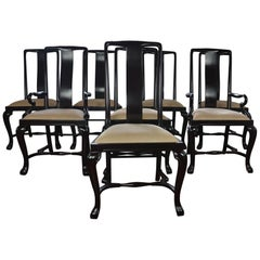 Set 8 Lacquer Finish Dining Chairs