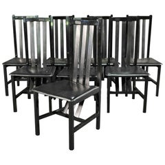 Set of 8 Leather Strap Ebonized Back Mid-Century Modern Pace Dining Chairs