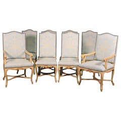 Set of 8 Maison Jansen Crème Paint and Gold Gilded French Louis XV Dining Chairs