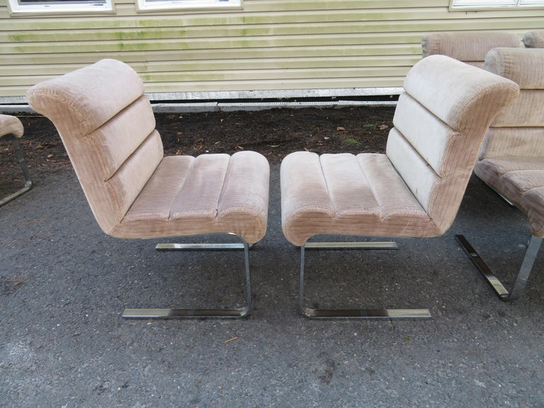Set 8 Mariani Pace Collection Cantilevered Dining Chairs Mid-Century Modern In Good Condition For Sale In Medford, NJ