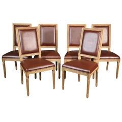 "Set 8 Restoration Hardware ""Vintage French"" Vinyl Upholstered Dining Chairs"