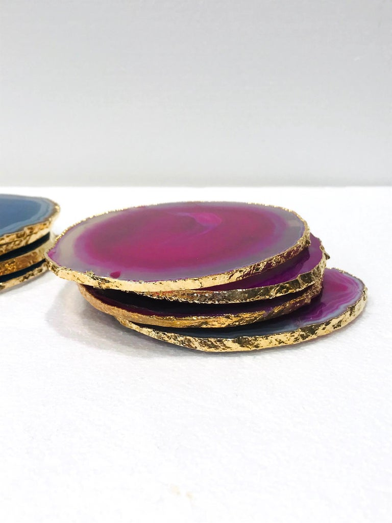 Set/ 8 Semi-Precious Gemstone Coasters in Pink and Turquoise with 24K Gold Trim For Sale 2