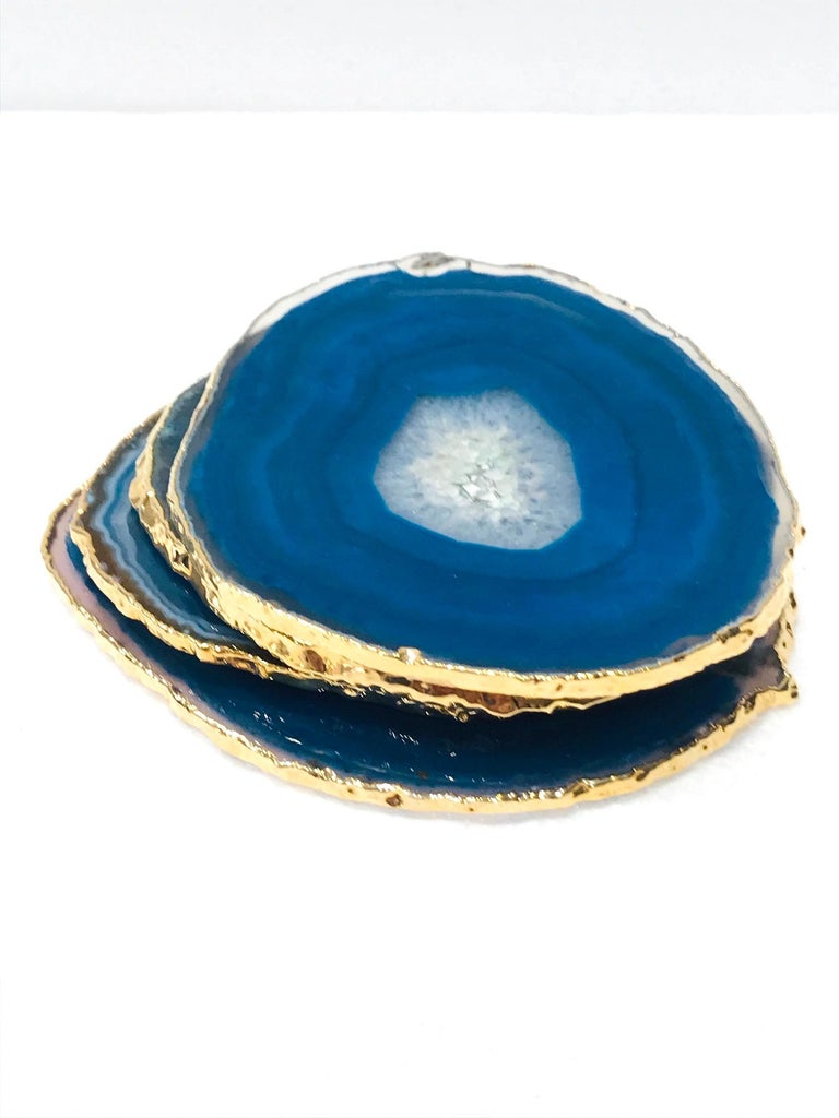 Set/ 8 Semi-Precious Gemstone Coasters in Pink and Turquoise with 24K Gold Trim For Sale 3