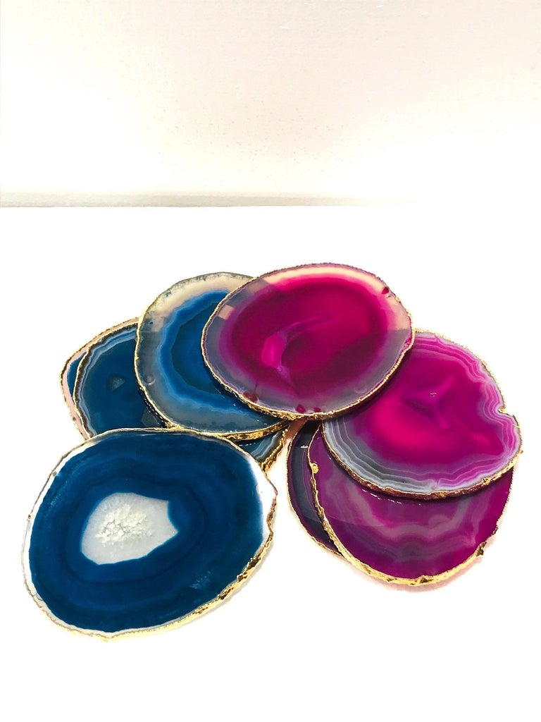 Hollywood Regency Set/ 8 Semi-Precious Gemstone Coasters in Pink and Turquoise with 24K Gold Trim For Sale