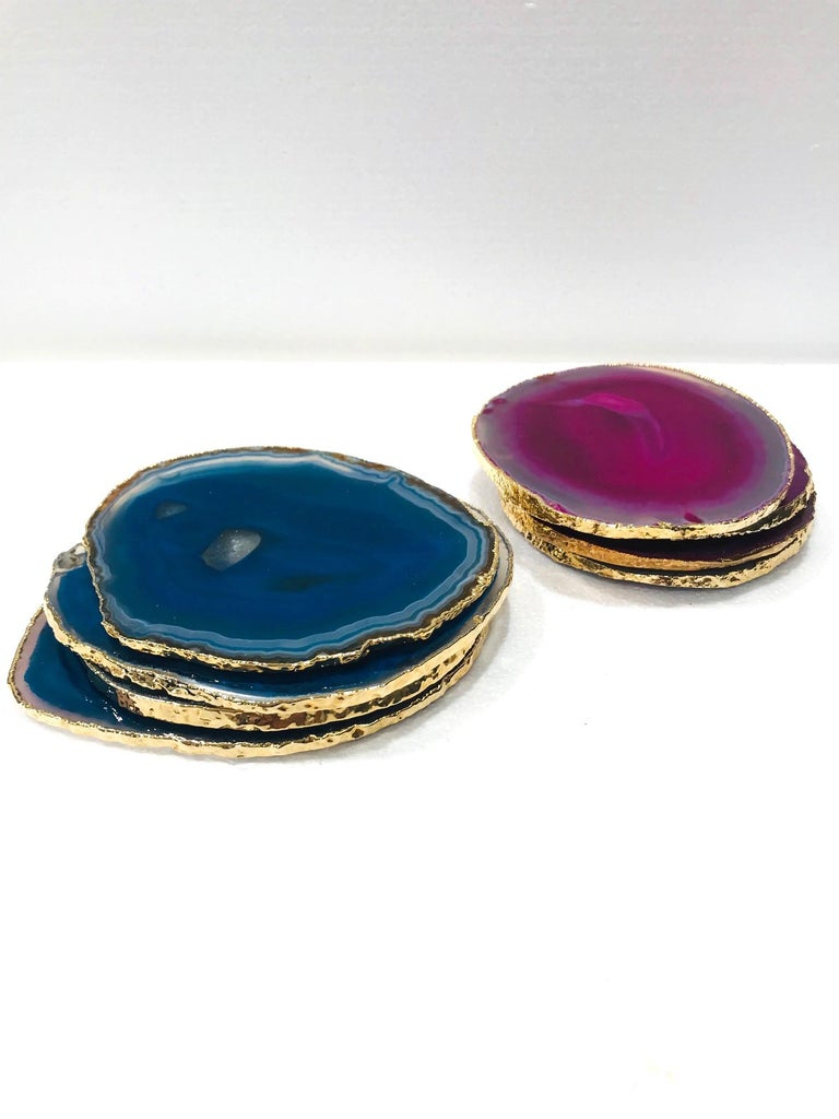 Brazilian Set/ 8 Semi-Precious Gemstone Coasters in Pink and Turquoise with 24K Gold Trim For Sale
