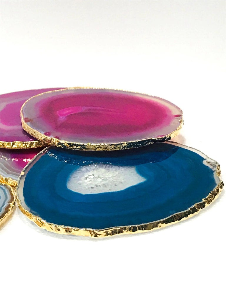 Contemporary Set/ 8 Semi-Precious Gemstone Coasters in Pink and Turquoise with 24K Gold Trim For Sale
