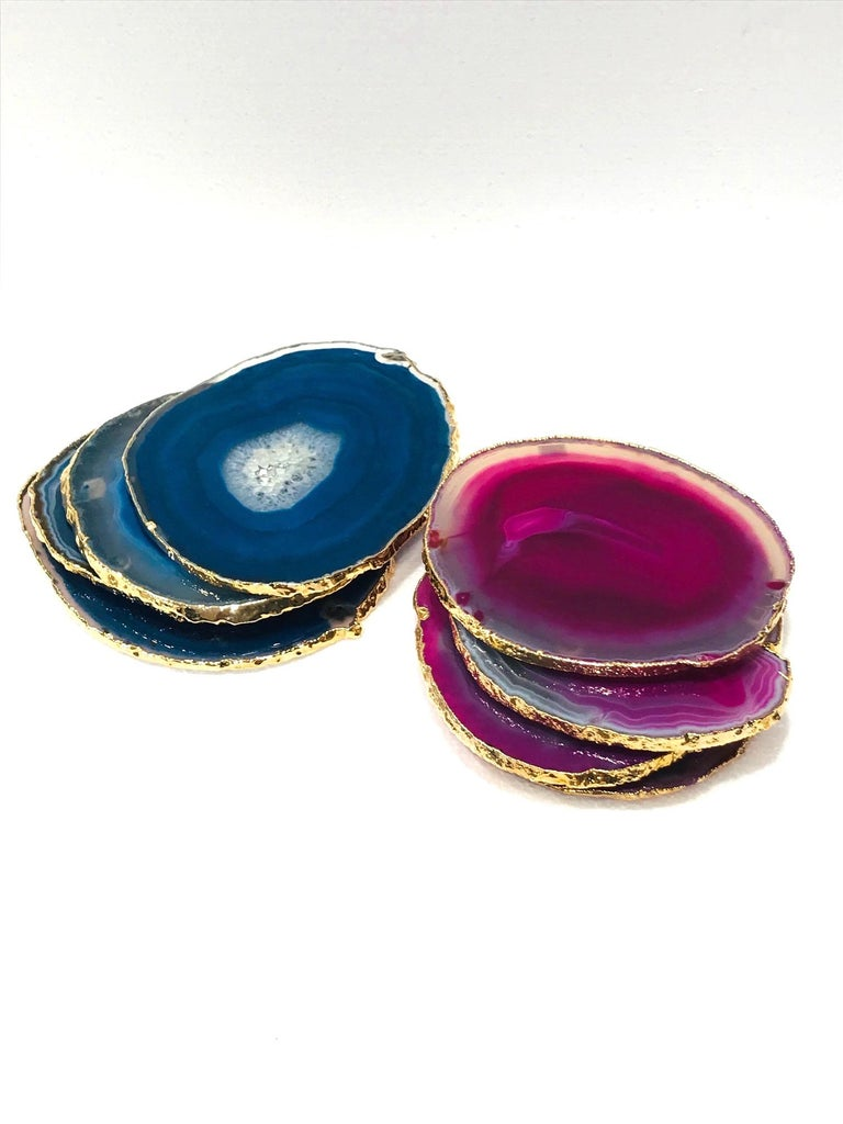 Gold Plate Set/ 8 Semi-Precious Gemstone Coasters in Pink and Turquoise with 24K Gold Trim For Sale