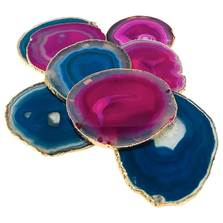 Set/ 8 Semi-Precious Gemstone Coasters in Pink and Turquoise with 24K Gold Trim For Sale