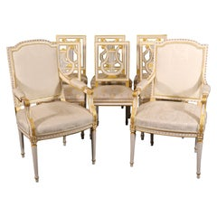 Set 8 Signed Maison Jansen White Paint and Giltwood Lyre Back Louis XVI Chairs