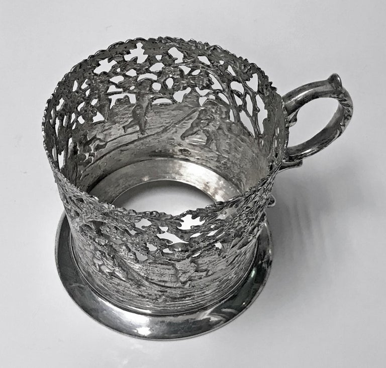 Set of 8 Silver Tea Holders with engraved glasses, Germany, circa 1900 For Sale 2