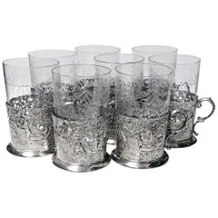 Set of 8 Silver Tea Holders with engraved glasses, Germany, circa 1900