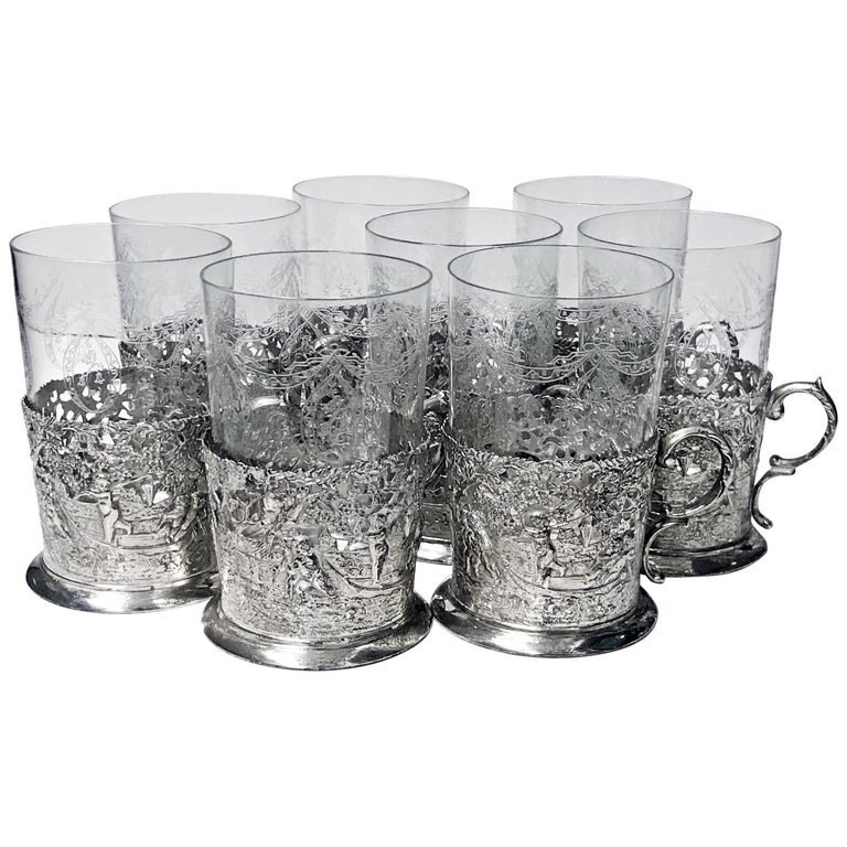 Set of 8 Silver Tea Holders with engraved glasses, Germany, circa 1900 For Sale