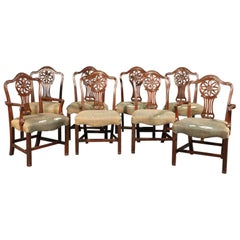 Set 8 Solid Mahogany Schmieg and Kotzian English Regency Style Dining Chairs