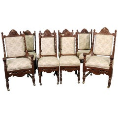 Set 8 Solid Oak RJ Horner Figural Carved Barley Twist Victorian Dining Chairs