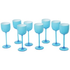 Set of 8 Very Tall Turquoise Cased Wine/Water, Goblets Carlo Moretti, Midcentury
