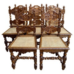 Set 8 Vintage French Country Carved Oak Dining Chairs Barley Twist Cane Seat