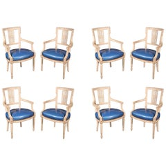 Set 8 White Painted Patent Leather Signed Maison Jansen Dining Armchairs