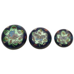 Set Antique Oriental Cloisonné Graduated Containers, Early 20th Century