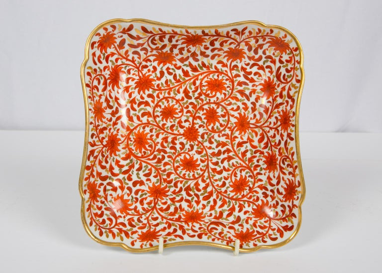 Set of Antique Porcelain Dishes in Coalport's Red Chrysanthemum Pattern For Sale 4