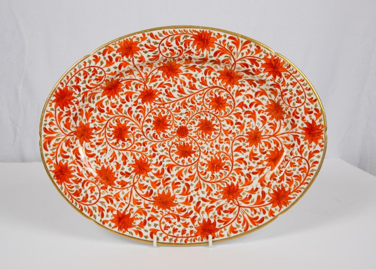 Set of Antique Porcelain Dishes in Coalport's Red Chrysanthemum Pattern For Sale 7