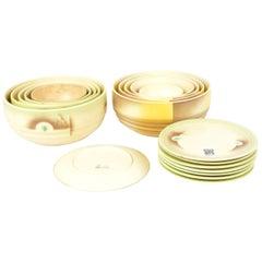 Set Antique / Vintage German Art Deco Ceramic Bowls Plates 1920-1930 Esterwalda