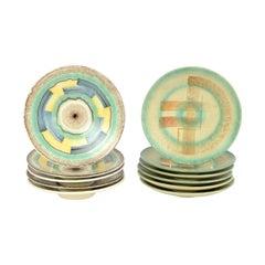 Set Antique / Vintage German Art Deco Ceramic Plates 1920-1930 Esterwalda