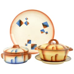 Set of Antique / Vintage German Art Deco Ceramic Tureen Plates Esterwalda