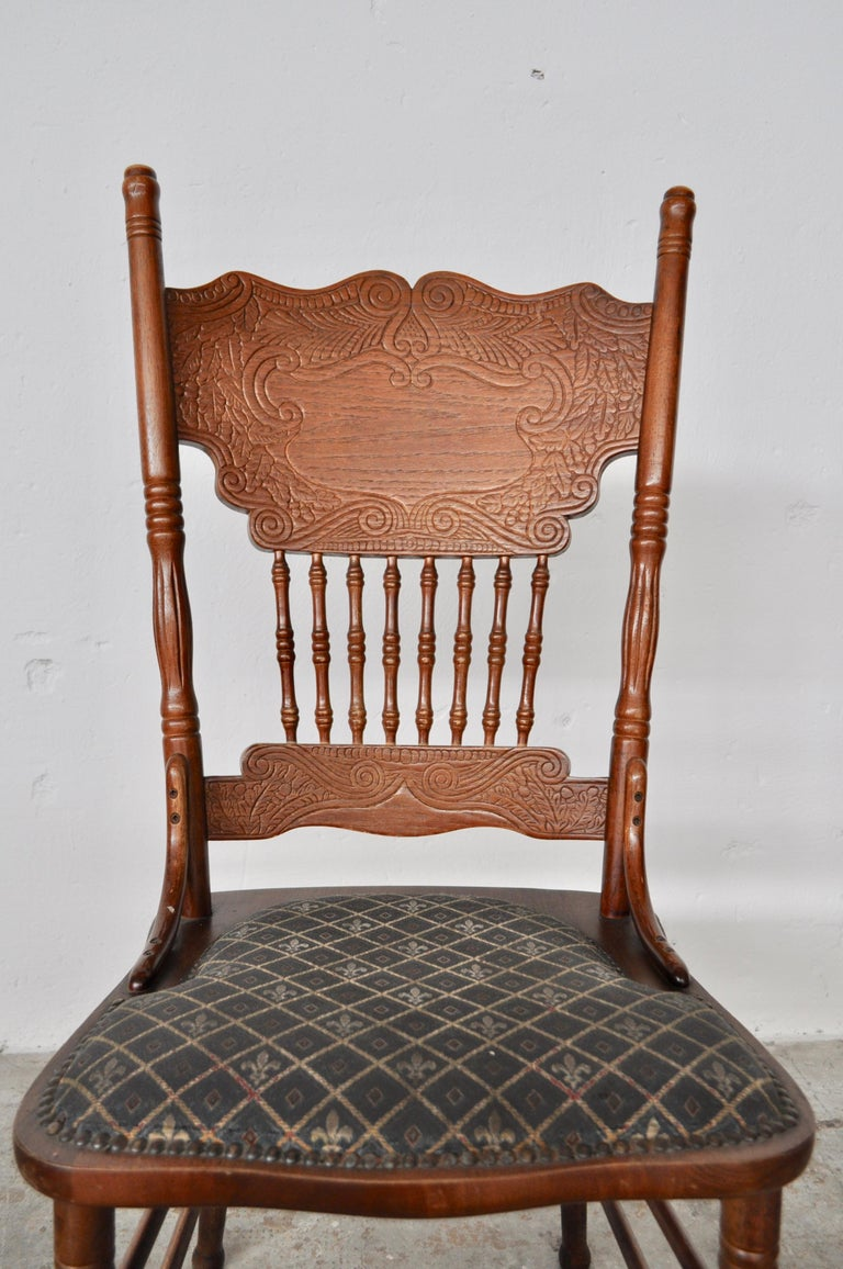 Fabric Set of Ashwood Chairs, Austria, 1920s For Sale