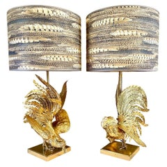 """Set Brass """"Fighting"""" Birds Table Lamps, 1960s"""