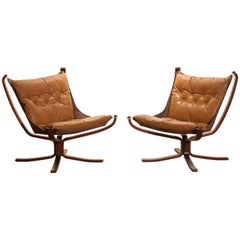 Set Camel Leather 'Falcon' Lounge Chairs or Easy Chairs by Sigurd Ressell