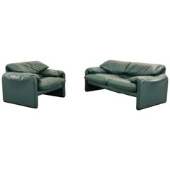 Set Cassina Maralunga 2-Seat Sofa and Easy Chair by Vico Magistretti in Leather