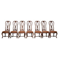 Set Chairs in Ashwood Hand Carved with Leather Seats, Italy, 1950s