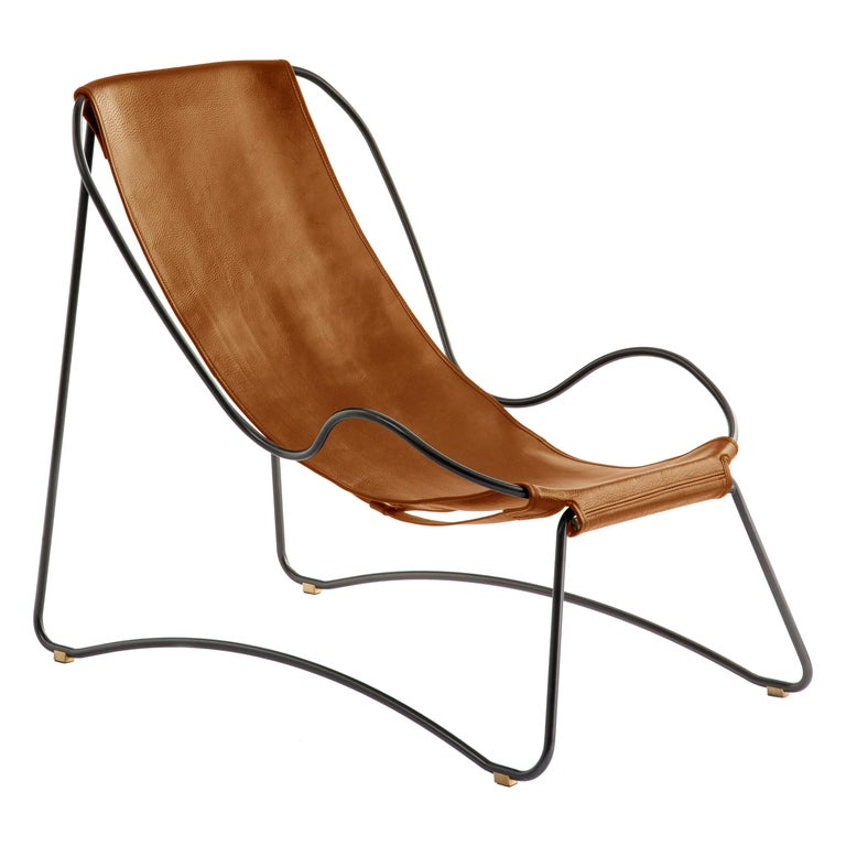 Set Chaise Longue and Footstool, Black Smoke Steel and Natural Tobacco Leather For Sale