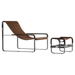 Set Chaise Longue and Footstool Black Steel and Dark Brown Leather, Modern Style