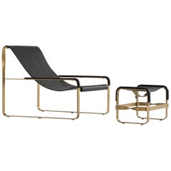Set Chaise Longue and Footstool, Brass Steel and Black Leather, Modern Style