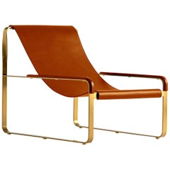 Set Chaise Longue & Footstool Aged Brass Steel and Tobacco Leather Modern Style