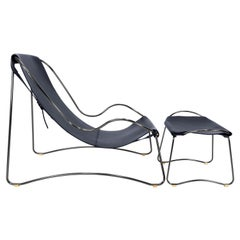 Set Chaise Longue & Footstool Black Smoke Steel Navy Leather Contemporary Style