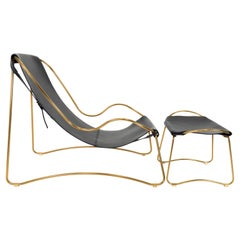 Set Chaise Longue, Footstool, Brass Steel and Black Leather, Contemporary Style