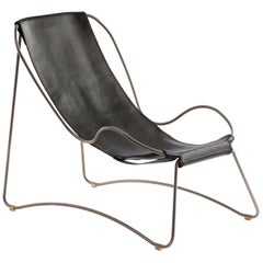 Set Chaise Longue, Footstool Old Silver Steel and Black Leather Modern Style