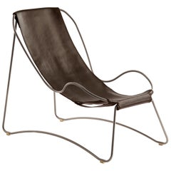Set Chaise Longue & Footstool Old Silver Steel & Dark Brown Leather Modern Style