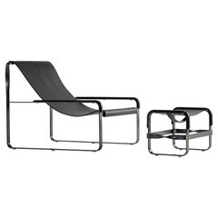 Set Chaise Lounge and Footstool Black Steel and Black Leather Modern Style