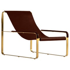 Set Chaise Lounge & Footstool, Brass Steel and Dark Brown Leather, Modern Style
